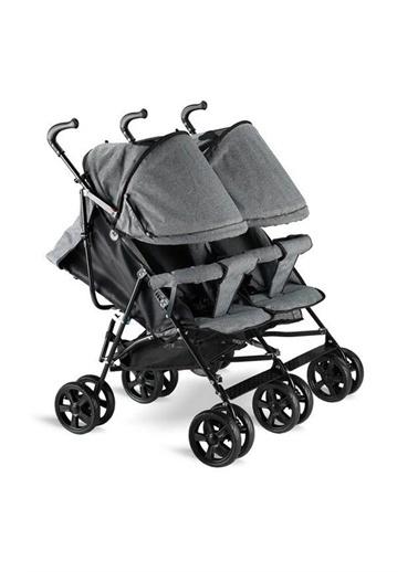 BabyHope Bh-610 İkiz Bebek Arabası Baston İkiz Puset Gri